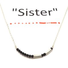 Morse Code Necklace for Sister  Morse Code Jewelry  by yhtanaff