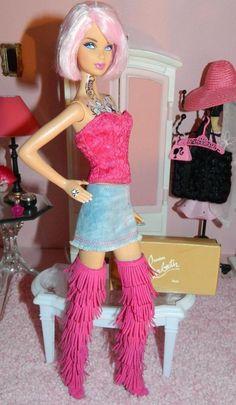 The Amazing Christian Louboutin Pink Fringe Boots on the gorgeous Tokidoki