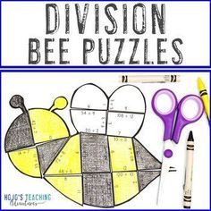 DIVISION Bee Puzzles | Spring Math Games | Spring Math Centers | Bee Math | 3rd, 4th, 5th grade, Activities, Basic Operations, Games, Homeschool, Math, Math Centers, Spring 5th Grade Classroom, Special Education Classroom, Math Math, Math Games, Basic Math, Homeschool Math, 5th Grades, Rubrics, Math Centers