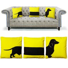 Yellow sausage dog cushions set | Maison Privée