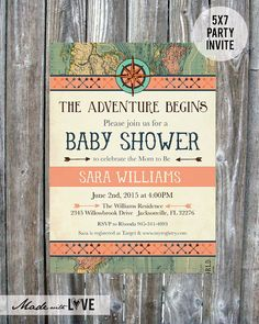 vintage map baby shower invitation coral adventure baby shower invite digital download printable