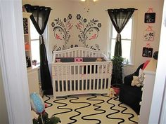 Beautiful black, white and pink nursery