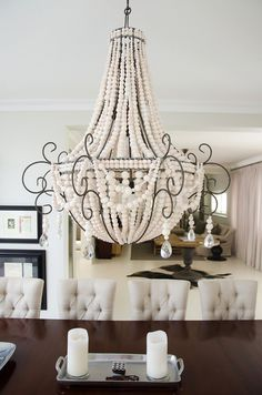 www.hellooow.co.za _ Large TWIST ceramic bead chandelier in natural white beads