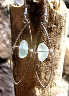 Hawaiian Aqua Beach Glass Channel Cut Wire-Wrapped with Silver Filled Wire Pointed Hoop Earrings.  Handmade with Aloha!  $32.00