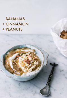 yogurt + bananas, cinnamon and peanuts   16 Delicious Yogurt Topping Combos