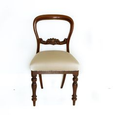 Victorian wood and fabric chair Retro Furniture, Antique Furniture, Chair Fabric, Mid Century Furniture, Vanity Bench, Victorian, Traditional, Antiques, Wood