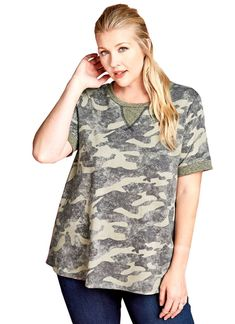 Women s Plus Size Camouflage Short Sleeved Knit Tunic Top. Camouflage ShortsFrench  TerryTwo ... 06073dc46