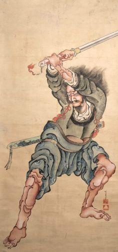 Katsushika Hokusai (1760-1849) Encre polychrome sur papier, Yurang, assassin fameux de la période Printemps et Automne, brandissant son sabre. Signé Hokusai Iitsu hitsu suivi de ses deux cachets. (Taches… - Tessier & Sarrou - 27/06/2016