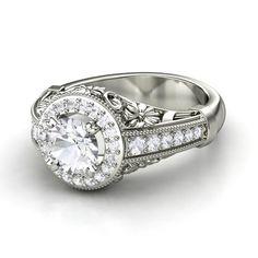 Round White Sapphire Platinum Ring with White Sapphire