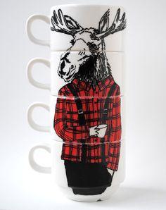 Hand painted set of 4 Coffee cups - Mr Lumberjack Moose. $69.00, via Etsy.