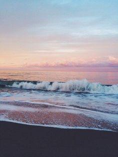 Pink + gray beach