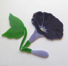 MORNING GLORY FLOWER Precut Stained Glass Art Kit Mosaic Inlay Stone Tile PURPLE Many original designs selling on ebay.