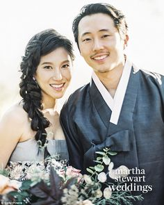 Knot tied: Steven Yeun and his new bride Joana Pak revealed details of their LA nuptials w...