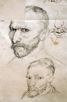 Vincent Van Gogh, self portrait sketches. I love his sketches, btw. YOU SEE? Vincent traced the image, with the box in his head, From vangoghfoto.com   His attempt to draw himself, lower drawing, was not successful so he needed the photograph!