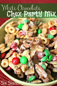 White Chocolate Chex Party Mix- this is so easy to make (5 minutes) and it gets devoured at parties! SixSistersStuff.com #Christmas #Snack