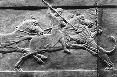 Detail from register of Lion Hunt Scenes, Palace of Ashurbanipal, Nineveh, Iraq, bas relief panel, limestone, length: NA, c. 669-633 B.C. (British Museum, London)