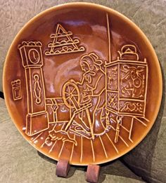 Vintage Ceramic Carved Plate in Amber Brown with Maker's Mark