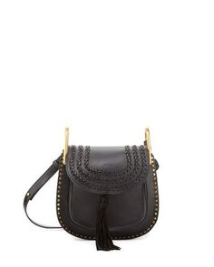 CHLOÉ Hudson Small Leather Shoulder Bag, Black. #chloé #bags #shoulder bags #lining #suede #