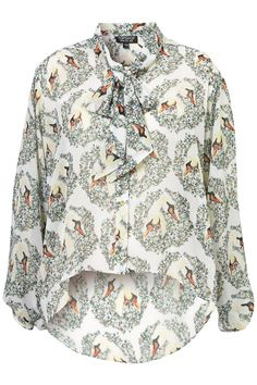Swan Print Pussybow Blouse - Tops - Apparel - Topshop USA