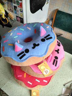 Katze-Kissen  Kitty Cat Donut Kissen Plüsch-Pink-Gratis