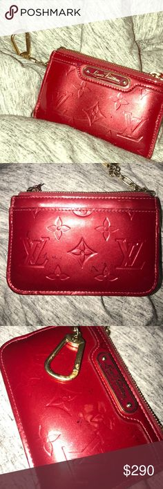 Louis Vuitton Red Vernis Pochette Cles Coin Purse • PRICE DROP! • A few ink specs on front and back, but I think you can probably get them off. Zipper works perfectly and inside is clean. This version of the Vernis Cles (with LV logo) is rare and discontinued which is why I kept the price at $290. It's worth more but with the ink specs I decided to lower the price. (Open to trustworthy trades: ISO LV monogram key pouch or LV cerises cles cherry key pouch) Louis Vuitton Accessories Key & Card…