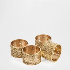 Zara Home Perforated metal napkin ring (set of 4) (€16) ❤ liked on Polyvore featuring home, kitchen & dining, napkin rings, golden, brass napkin rings and zara home