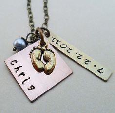 Personalized New Mom New Baby Name and Date by DesertRainJewelry, $28.00