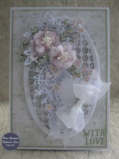 "Hello everyone, DT samples for Tattered Lace.""Pastel Haven Collection"" Launching over on Create and craft TV. Flower Cards, Paper Flowers, Create And Craft Tv, Tattered Lace Cards, Shabby Chic Cards, Spellbinders Cards, Beautiful Handmade Cards, Marianne Design, Mothers Day Cards"