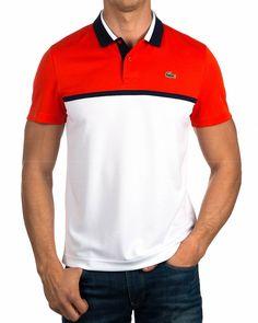 Polos Lacoste ® Rojo & Blanco - Oficial | ENVIO GRATIS Polo Shirt Design, Polo Design, Junior Shirts, Golf T Shirts, Mens Shirt Pattern, Polo Outfit, Lacoste Polo Shirts, T Shirt Time, Geile T-shirts