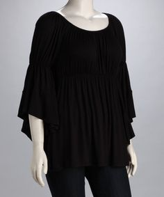 Look at this #zulilyfind! Black Angel-Sleeve Peasant Top - Plus #zulily,com finds, $24.99,sizes 1X,2XX,3XXX for the budget friendly price of $24.99