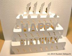 バースデーカード Birthday card [Origamic Architecture , Pop up card , kirigmi , 折り紙建築…