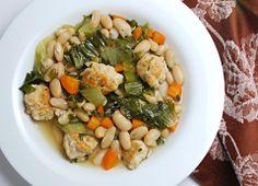 White Bean Escarole Soup with Turkey Meatballs, so ready for #fall soups