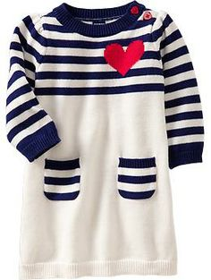 Heart Graphic Sweater Dresses for Baby