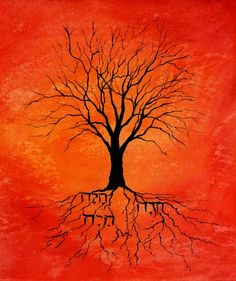 Burning Bush, Hebrew word for I am, Acrylic