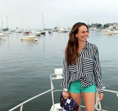 Black & white striped top, nautical clutch, bright green shorts and Michael Kors watch. {Summer in the Martha's Vineyard}