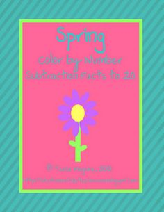 Spring themed color by number practicing subtraction facts within 20