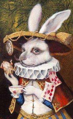 The White Rabbit from Alice in Wonderland by Vladimir Ovtcharov Alice Rabbit, Rabbit Art, Rabbit Hole, Alice In Wonderland Illustrations, Alice In Wonderland Tea Party, Alice In Wonderland Rabbit, Chesire Cat, White Rabbits, Arte Disney