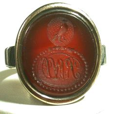 "Antique Carnelian Intaglio Ring, 1770-1790, with monogram ""RWD"" carved in reverse to make correct impression in sealing wax."