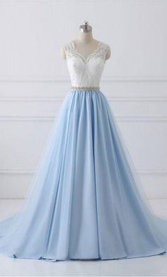 Prom Dress For Teens, Classy Ivory And Sky Blue Long Lace Tulle Princess Prom Dresses, cheap prom dresses, beautiful dresses for prom. Best prom gowns online to make you the spotlight for special occasions. Blue Evening Dresses, Elegant Prom Dresses, A Line Prom Dresses, Cheap Prom Dresses, Pretty Dresses, Dress Prom, Dress Lace, Lace Bodice, Wedding Dresses