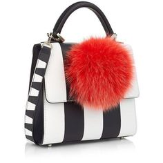 Les Petits Joueurs Striped Mini Alex Bunny Bag ($865) ❤ liked on Polyvore featuring bags, handbags, shoulder bags, leather crossbody purse, white leather handbags, mini crossbody, mini shoulder bag and leather purses