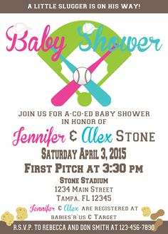PRINTABLE Baseball Baby Shower Party Invitations, Co-Ed Baby Shower Invitation, Boy or Girl Sports Baby Shower DIY (Digital YOU Print) by AudrasChicDesigns on Etsy