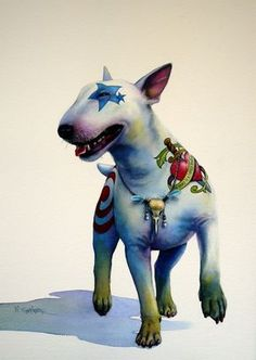 Bull terrier [one in a series] -- by Nick Eggleston, who has created a series of bull terrier portrayals with various colored tattoos and jewelry-collars. Miniature English Bull Terrier, English Bull Terriers, Chien Bull Terrier, Fox Terrier, Terrier Puppies, Photo Animaliere, Desenho Tattoo, Pet Costumes, Dog Paintings