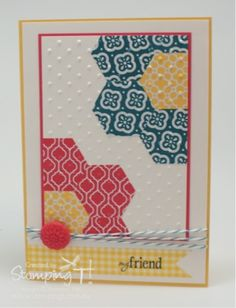Stampin' Up! ... handmade quilt card: Summer time and a Try Stampin' Sketch ... primary colors ... off the edge flowers made with punched hexagons ... embeded embossing with dots embossing folder ... wonderful card!