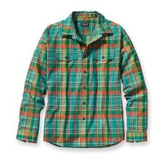 Patagonia Men's Buckshot Flannel Shirt  A trusty long-sleeved, two-pocket cool-weather flannel shirt made from an organic cotton/polyester blend.