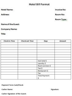 Hotel Receipt Template 12 Free Word Excel Pdf Format Download