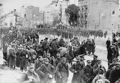 Polish soldiers marching out of the Warsaw garrison after being taken by the Germans, 28 September 1939 - pin by Paolo Marzioli