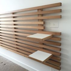 Installing a custom bedhead with John, the Osmo on blackbutt came up a treat. Wood Slat Wall, Wood Slats, Interior Design Living Room, Living Room Designs, Interior Decorating, Wall Shelves, Shelving, Tv Shelf, Diy Furniture