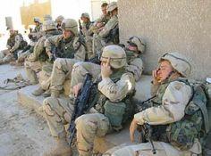 Soldiers resting in Baghdad
