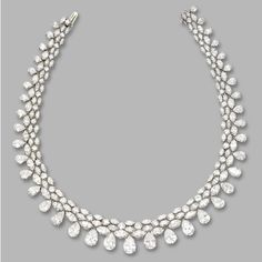 DIAMOND NECKLACE. Pear-shaped, round and marquise-shaped diamonds totaling approximately 80 carats, mounted in platinum, length 14½ inches. (Sotheby's)