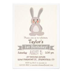 Conejo de conejito del arbolado, fiesta del invitación 12,7 x 17,8 cm
